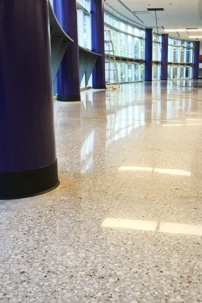white polished concrete floor at Blue Valley School District