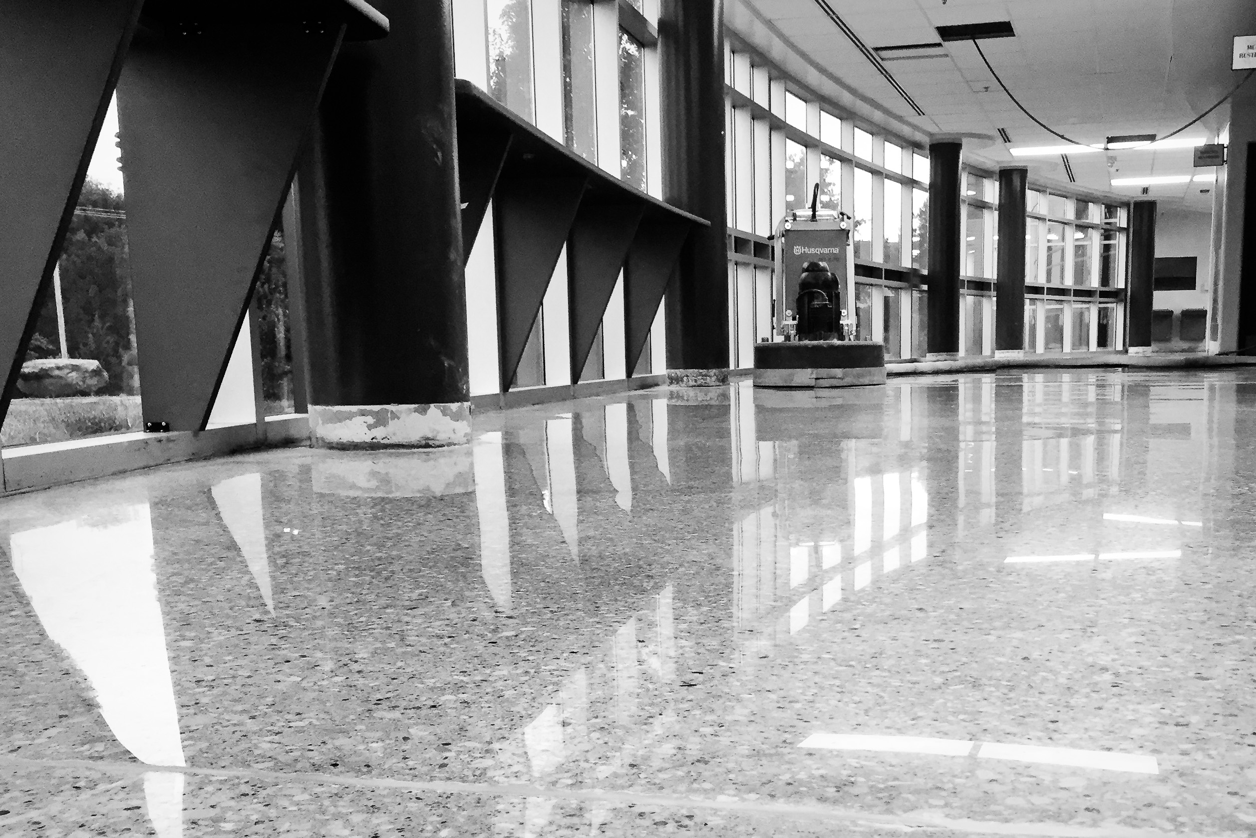 black and white photo of Blue Valley School District featuring a polished floor