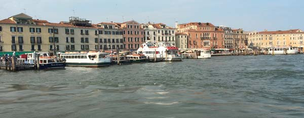 view of venice from water taxi