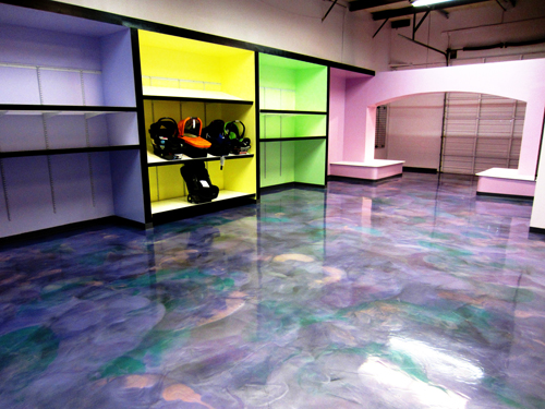 Don Pinger, Custom Concrete Solutions, West Hartford, Conn., used a unique combination of dyes and metallic epoxy to achieve a neat, radiant floor for this baby accessories shop.