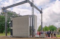 A final look of a concrete home that was printed using a 3-D printer