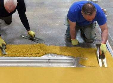 yellow fastop applied to concrete