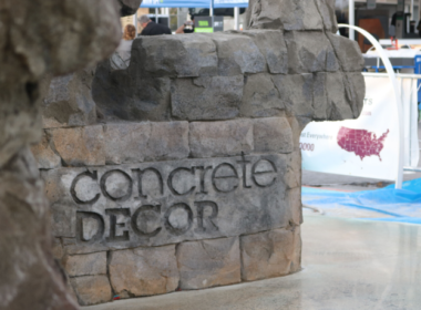 Vertical Carved Concrete Decor Logo