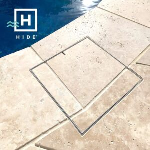 HIDE Skimmer Covers to cover skimmers on pool decks