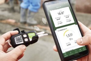 wireless SmartRock concrete sensors used for job site safety