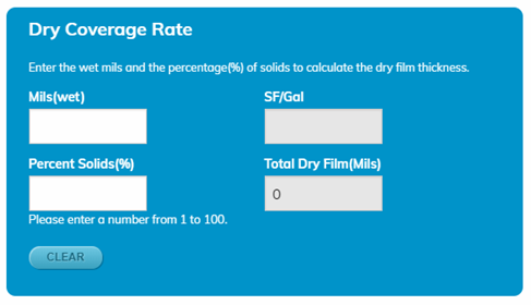 Coverage Rate Calculators - Dry Rate