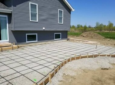 composite rebar used on a curved concrete patio pour