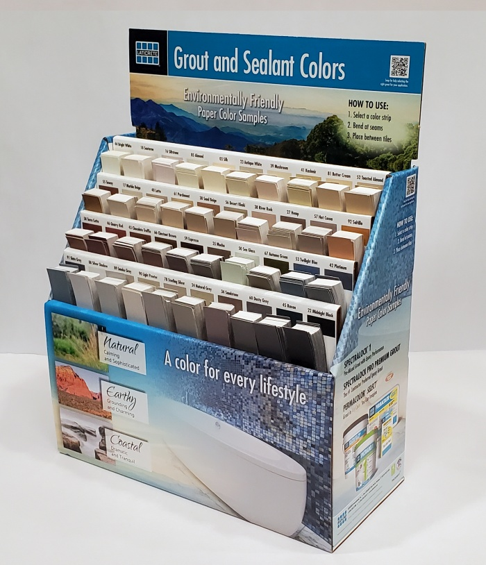 a display of group and sealer colors for the Eco Grout Color Selector