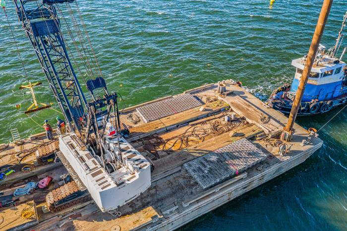 ECOncrete Marine Mattresses on a barge in the Long Island Sound