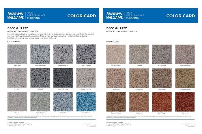 A color card showing Deco Quartz System Colors