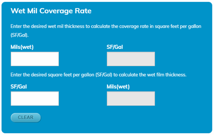 Coverage Rate Calculators - Wet Mil Rate