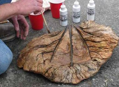 Concrete Leaf - molded and stained to look real