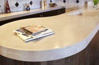 chic concrete countertop in a curved design