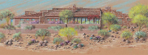 "A drawing by architect Terry Kilbane of the Fountain Hills, Ariz., home to be built during Season One of the TV show ""Concrete Nation."""