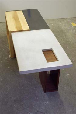 precast two tone concrete and wood table, wood base