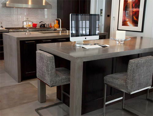 JM Lifestyles kitchen concrete countertop, seamless concrete table