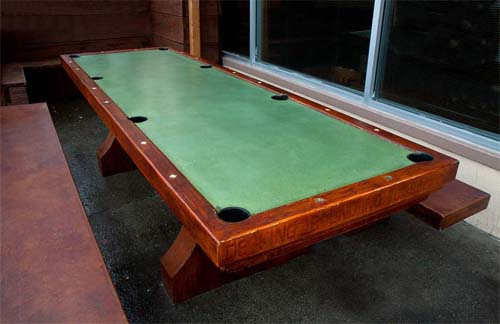 billiard picnic table concrete table, green stained concrete billiard table