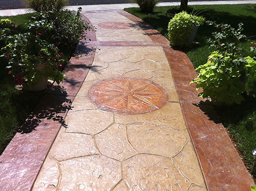 Miles Concrete Design used T1000 Stampable Overlay from Butterfield Color on this Amarillo, Texas, walkway.