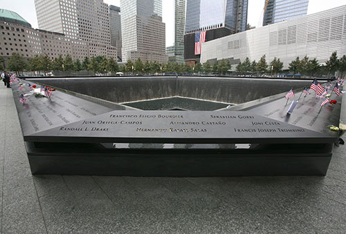 A look at the edge of the memorial fountain that has names of the victims of the September 11 attack.