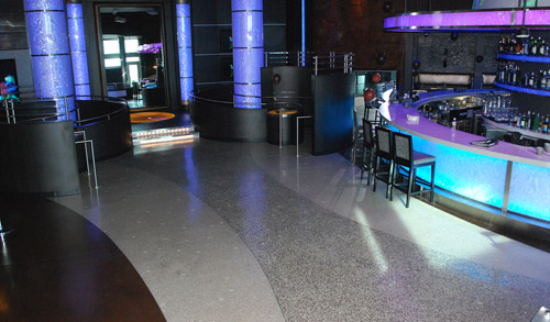 Mapei mix, glass & aggregate were used to overlay the concrete floor.
