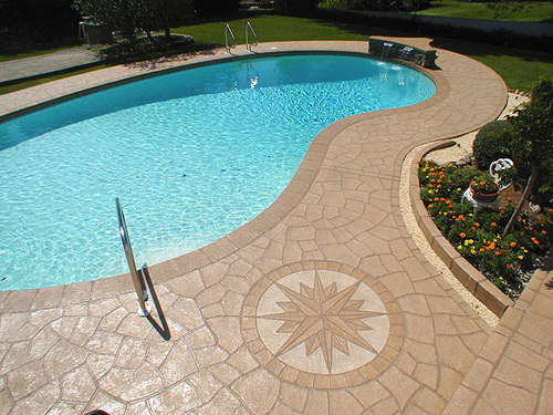Pool deck stamping with no new technology stamp tools