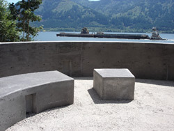To finish the job, Brown covered the ground surfaces inside the ceremony circle with gravel and added two large rocks to frame the circle's entrance.