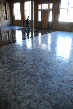 Metallic epoxy installed in a future admin building.