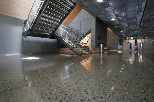 David Padgett and his crew were responsible for the polished floors in this San Francisco federal building. The floor was ground and polished using a Concrete Polishing Solutions machine that weighed approximately 925 pounds.