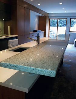 Concrete Countertop with two levels, lower level white, upper level blue