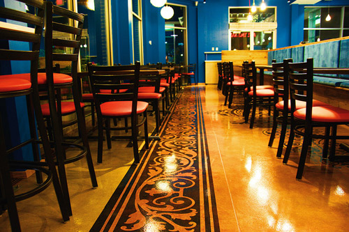 "Epoxy concrete flooring - Spice 6, a fast-casual restaurant in Hyattsville, Md., serves up a zesty visual feast that complements its Chipotle-like ""modern Indian"" bill of fare."