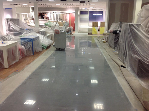 This particular concrete polishing job features CTS Cement's Rapid Set TRU overlay.