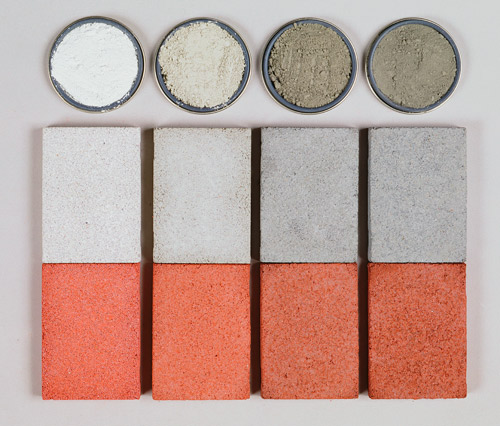 These samples show how cement color can affect concrete's appearance. Cement samples at the top range from white to dark gray. The cements were used to make the uncolored and colored concrete samples below them. Photo courtesy of Davis Colors