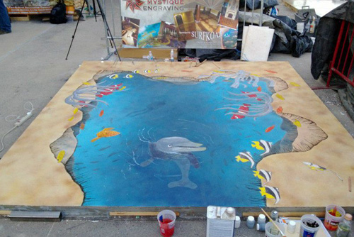 Stained concrete of an aquatic scene.