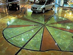 Multidimensional masterpiece in Las Vegas detailing the artistic value of concrete stain.