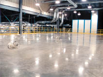 polished concrete in large warehouse