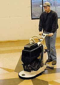 Decorative concrete auto scrubber runs on propane and has a catalytic converter for clean emmissions