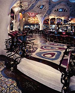 Colored decorative concrete provides excitement to this bar area.