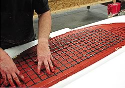 Adhering carbon-fiber grids is specifically designed for the lightweight reinforcement of concrete in countertops as well as in a multitude of precast and prestressed concrete products.