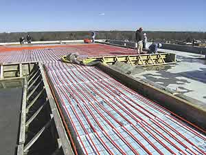 Snowmelt technology by way of radiant heat elements in concrete.