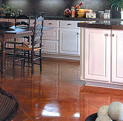 Symons Decorative Division on a kitchen floor in copper penny color