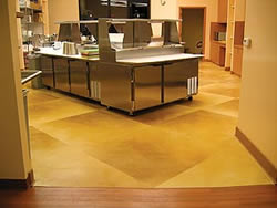 Brian Vacari, the Concrete Colorist, Kitchen Floor - The Full Plate, in Walnut Creek, Calif., features Colormaker Floors' Pentimento with integral color and a soft acid stain.