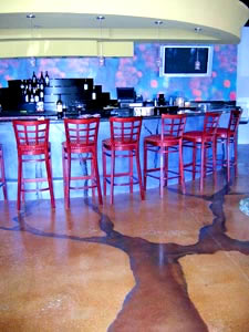 Brian Vacari, the Concrete Colorist, Bar Floor - Vinci's Restaurant, in Brentwood, Calif., features Colormaker Floors' Pentimento, which was acid-stained. Vicari used dye washes for the tree graphic.