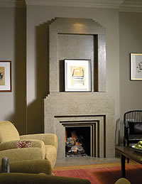 Concrete Fireplace - Keeping weight down is a factor when creating massive forms such as fireplace hearths and surrounds, and that sometimes dictates the aggregates that are chosen.