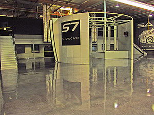 Seamless Floor Coatings in a Saleen show room is a highly reflective surface.