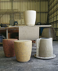 "Third was function — the molds are an efficient way to make concrete furniture. ""We have a number of molds in the shop, each of which has made well over 100 pieces,"""