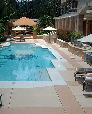 Concrete Maintenance on a pool deck creates a pretty and clean look.