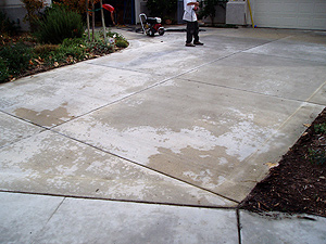 This is a driveway before it has been restored
