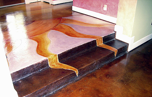 Decorative concrete spans this home including this floor stained with a sunshine.