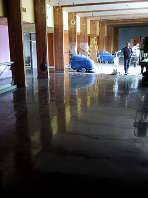 This floor was polished with autoscrubbers and swing machines. Only the cream was polished.