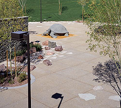 Concrete patio with a carved concrete turtle climbing structure.